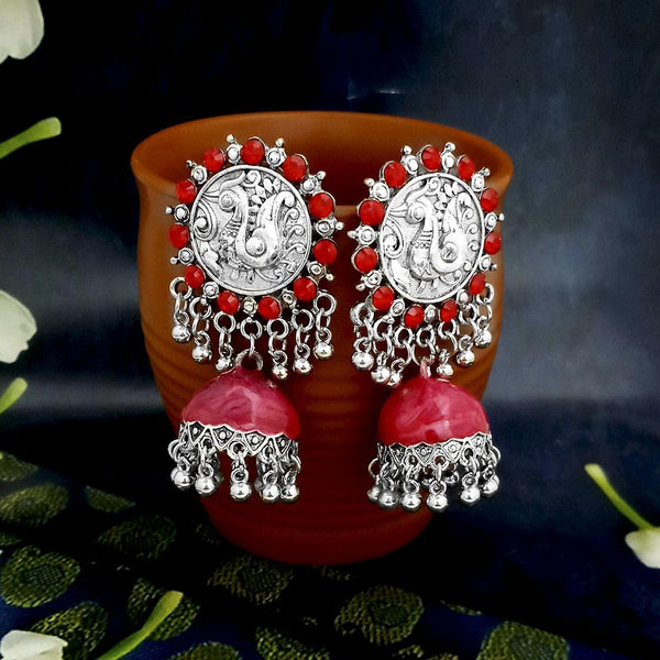 Native Haat Red Oxidised Plated Jhumki Earrings -1317801A