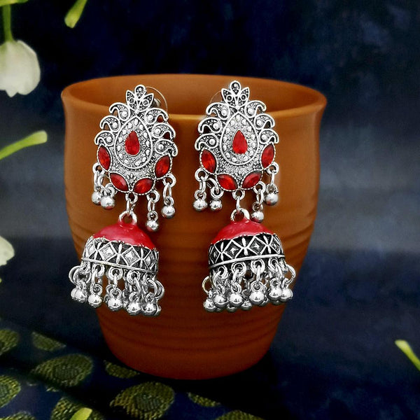 Native Haat Red Oxidised Plated Jhumki Earrings -1317803A