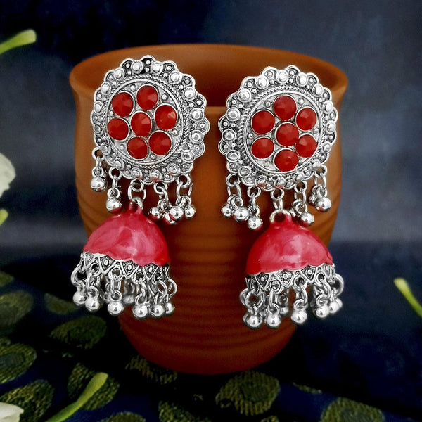 Native Haat Red Oxidised Plated Jhumki Earrings -1317804A
