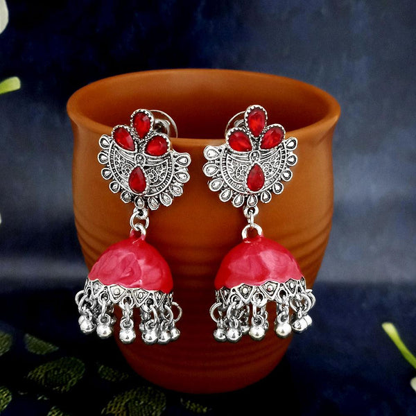 Native Haat Red Oxidised Plated Jhumki Earrings -1317805A