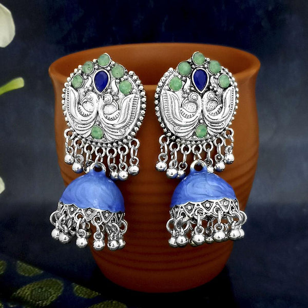 Native Haat Blue Oxidised Plated Jhumki Earrings -1317809F