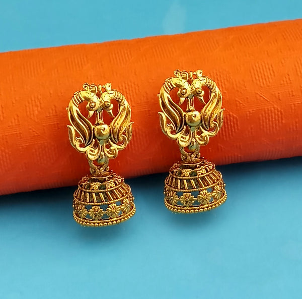 Woma Peacock Style Gold Plated Jhumki Earrings