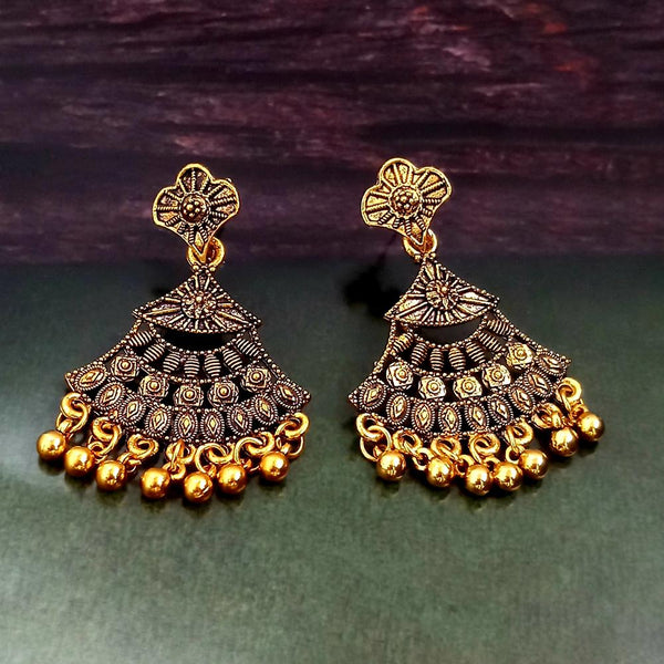 Woma Oxidised Gold Plated Dangler Earrings -1318252A