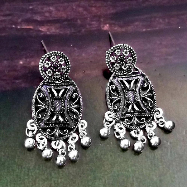 Woma Oxidised Silver Plated Dangler Earrings -1318254