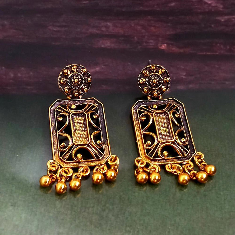Woma Oxidised Gold Plated Dangler Earrings -1318257A