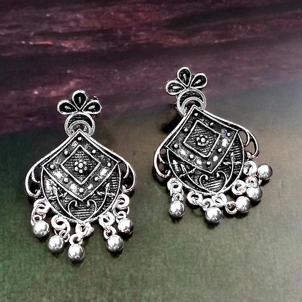 Woma Oxidised Silver Plated Dangler Earrings -1318261