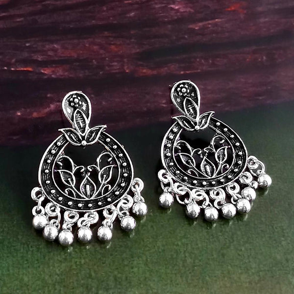 Woma Oxidised Silver Plated Dangler Earrings -1318263