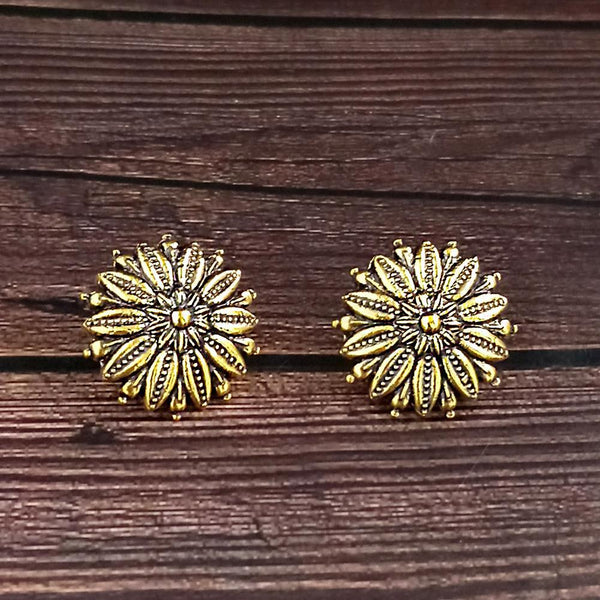 woma gold plated oxidised stud earrings  -1318506A-M