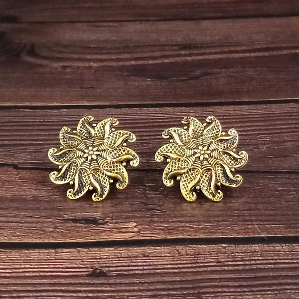 woma gold plated oxidised stud earrings  -1318512A-M