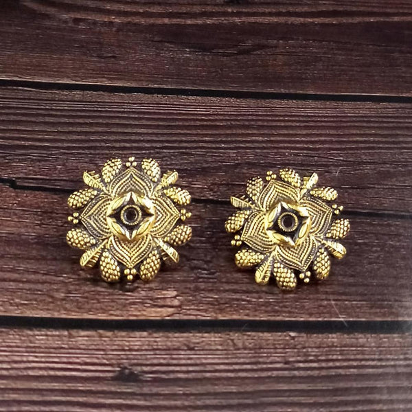 woma gold plated oxidised stud earrings  -1318513A-M