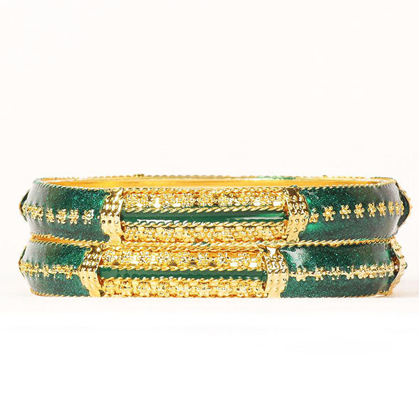 Urthn Green Meenakari Gold Plated Bangle Set