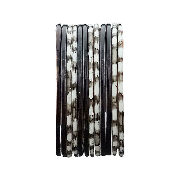 Urthn Black & White Bangle Set
