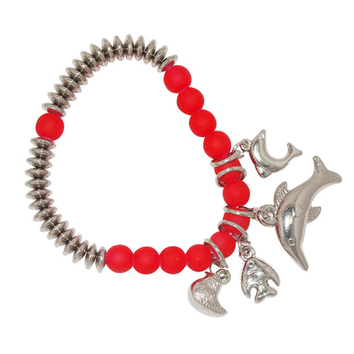 Urthn Red Beads Rhodium Plated Bracelet