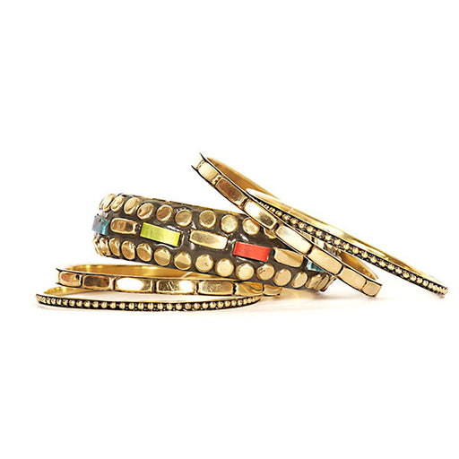 Urthn Gold Plated Multicolour Bangle Set