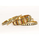 Urthn Multicolour Gold Plated Bangle Set