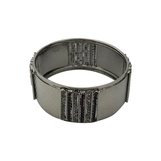 Urthn Black Beads Black Oxidised Plated Kada