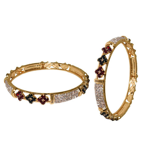 Kriaa Maroon And Green Austrian Stone Gold Plated Bangle Set