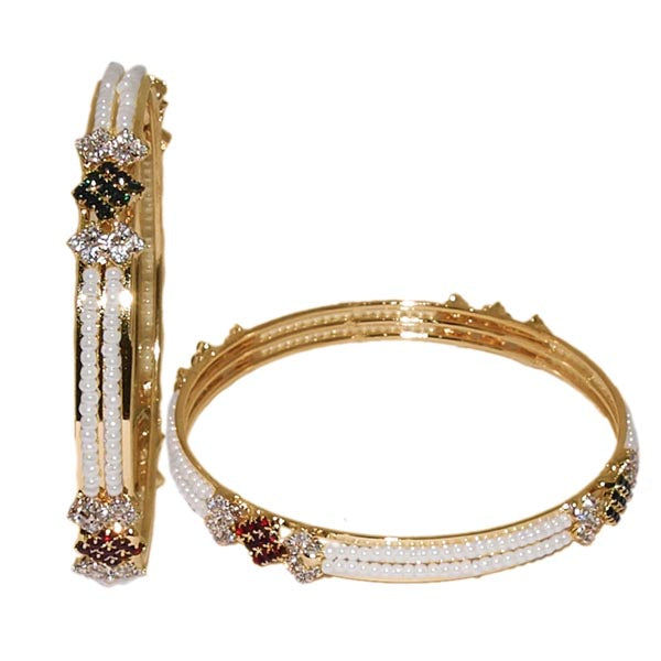 Kriaa Gold Plated Austrian Stone Pearl Bangle Set