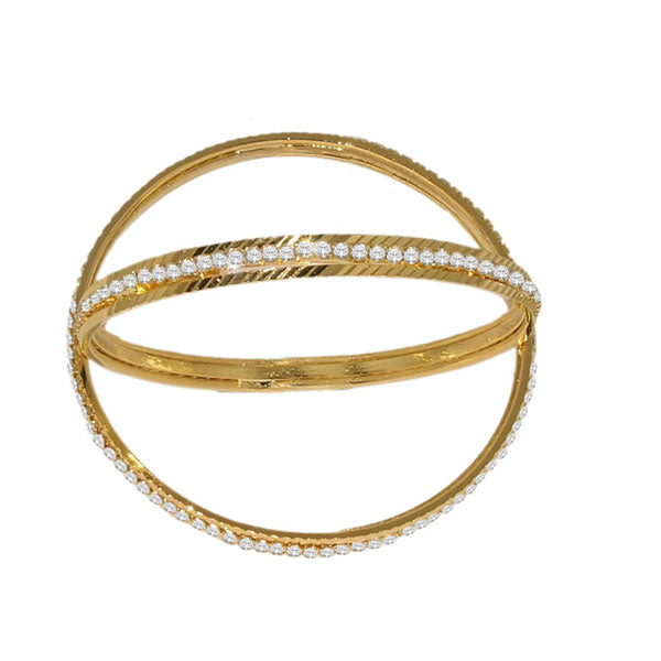 Kriaa Austrian Stone Gold Plated Bangle Set