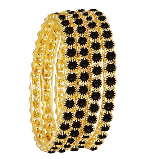 Kriaa Black Austrian Stone Gold Plated Bangle Set
