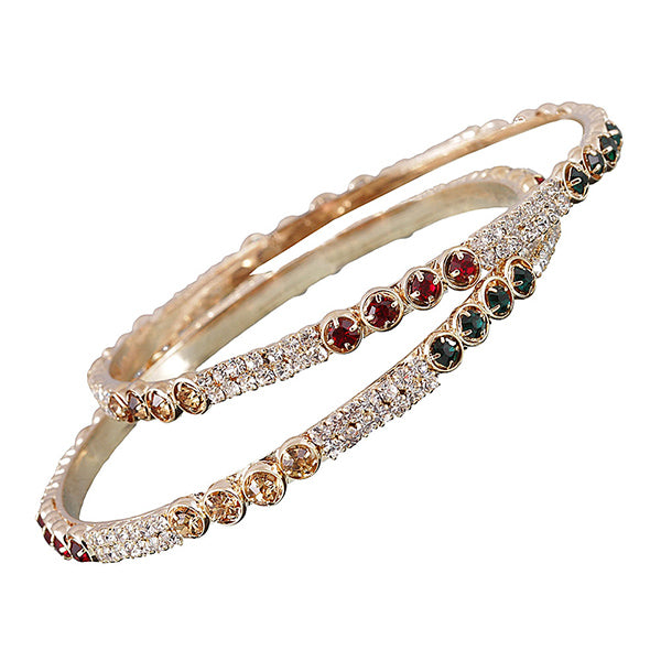 Kriaa Gold Plated Austrian Stone Bangle Set
