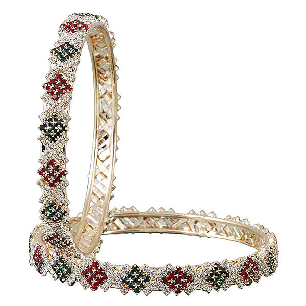 Kriaa Gold Plated Maroon Meenakari Austrian Stone Bangle Set
