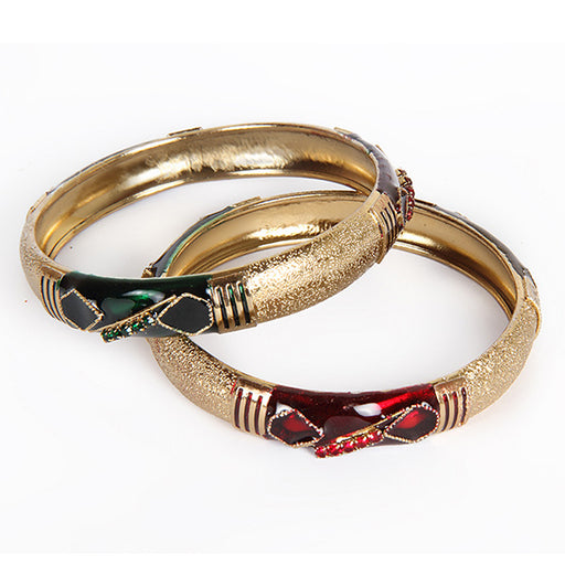 Kriaa Maroon And Green Meenakari Gold Plated Bangle Set