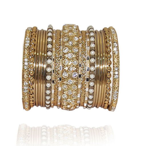 Vivant Charms Austrian Stone Gold Plated Traditional Bangle Set