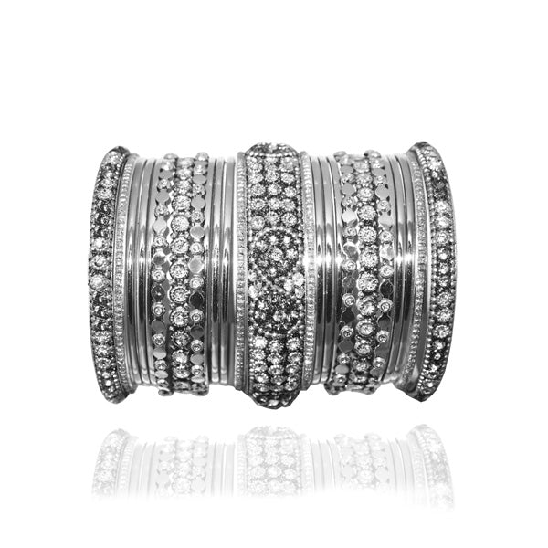 Vivant Charms Silver Plated Traditional Bangle Set