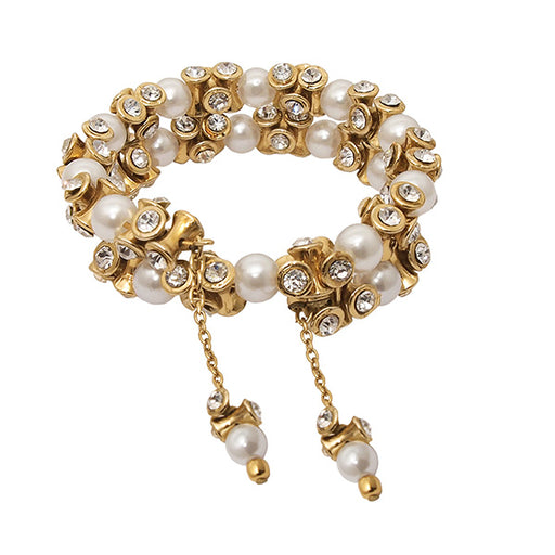Urthn Austrian Stone Gold Plated Pearl Bracelet