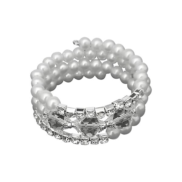 Urthn Silver Plated White Austrian Stone Pearl Bracelets