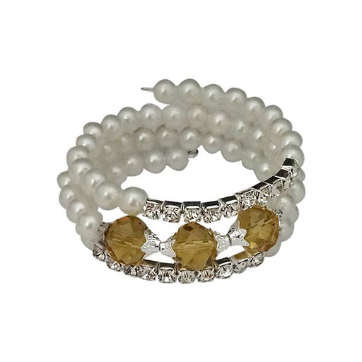 Urthn Silver Plated Brown Crystal Pearl Bracelets