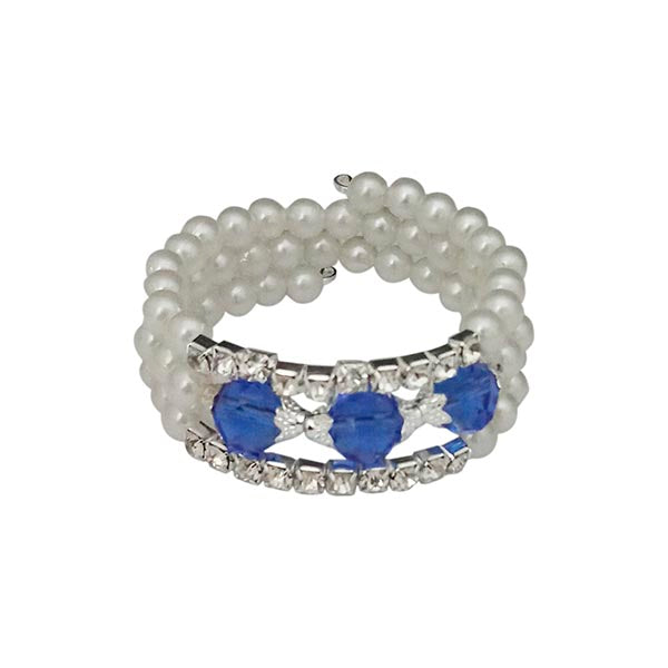 Urthn Silver Plated Blue Crystal Pearl Bracelets