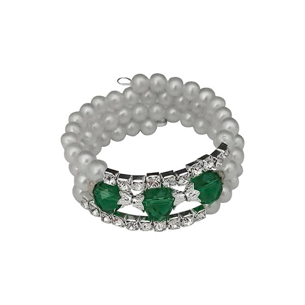 Urthn Silver Plated Green Crystal Pearl Bracelets