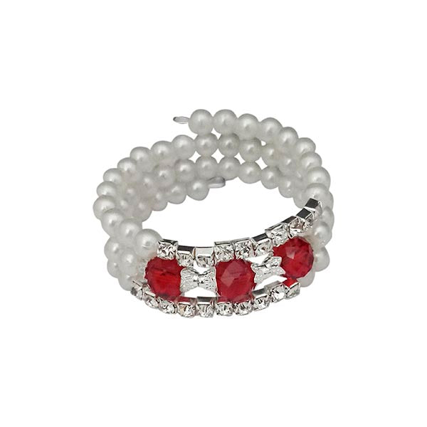 Urthn Silver Plated Red Crystal Pearl Bracelets