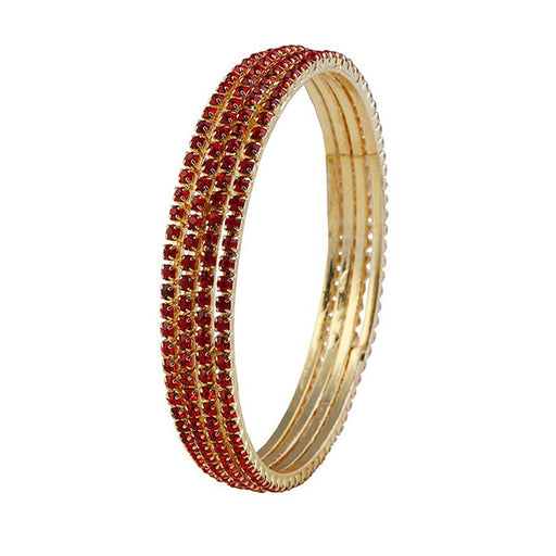 Kriaa Red Austrian Stone Bangle Set