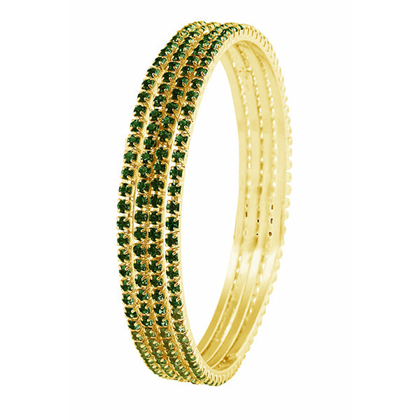 Kriaa Gold Plated Green Stone Bangle Set