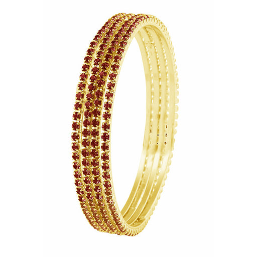 Kriaa Maroon Austrian Stone Bangle Set
