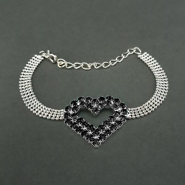 Urthn Black Austrian Stone Heart Shaped Silver Plated Bracelet