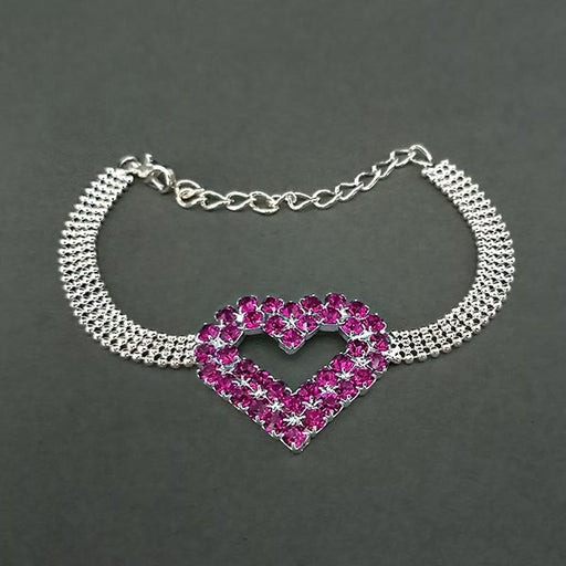 Urthn Purple Austrian Stone Heart Shaped Silver Plated Bracelet