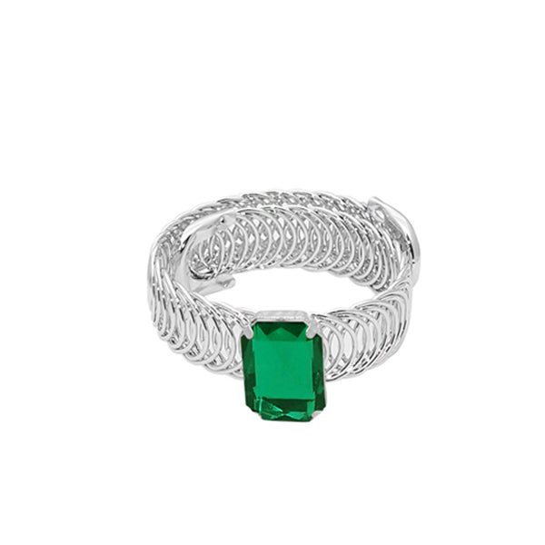 Urthn Green Austrian Stone Silver Plated Adjustable Kada