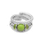 Urthn Rhodium Plated Green Bead Adjustable Kada