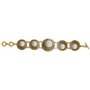 Beadside White Beads Gold Plated Bracelet
