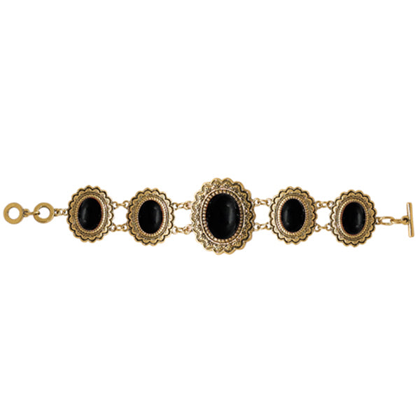 Beadside Black Beads Gold Plated Bracelet