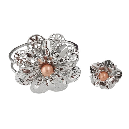 Urthn Rhodium Plated Pearl Floral Openable Kada With Ring