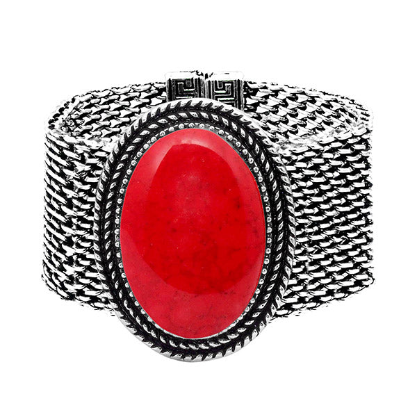 Urthn Oxidised Red Turquoise Texture Stone Magnetic Bracelet