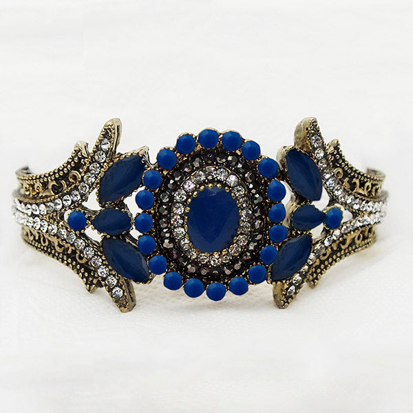 Kriaa Gold Plated Blue Stone Adjustable Kada