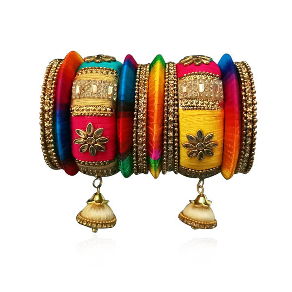 Sejal Multicolor Thread Resin Stone Bangle Set