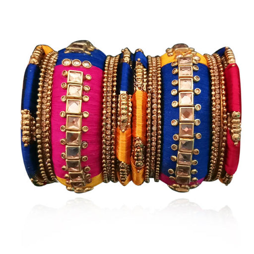 Sejal Resin Stone Multicolour Thread Bangle Set