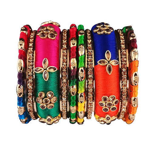 Sejal Multicolor Thread Kundan Stone Bangle Set